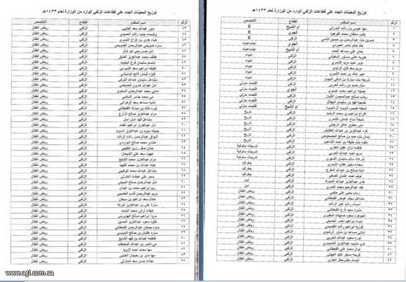 المعلمات الجدد الزلفي اماكن توزيعهن 1433/1434 اماكن توزيع