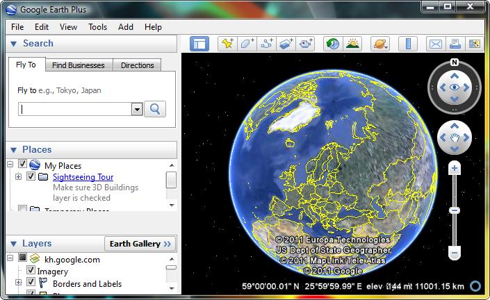 اصدار برنامج Google Earth2011 لمشاهده الارض القمر الصناعى