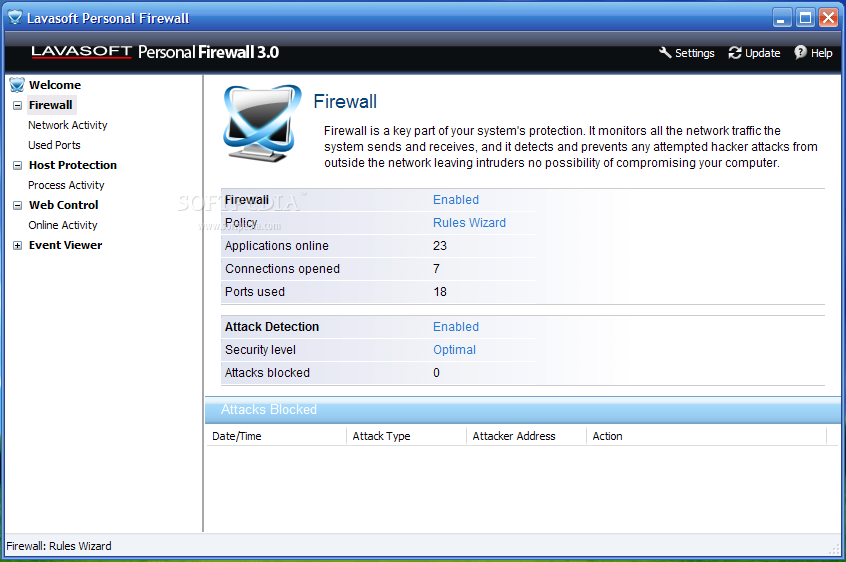 برنامج Lavasoft Personal Firewall 3.0 لمكافحة التجسس