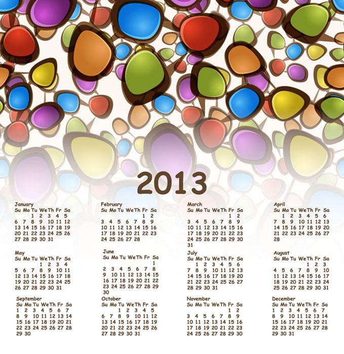 カレンダー 2013年カレンダー 印刷用 : 2013-Free-Vector-Calendar