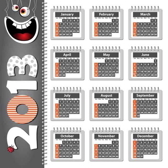 Creative 2013 Calendars design elements vector set 07.