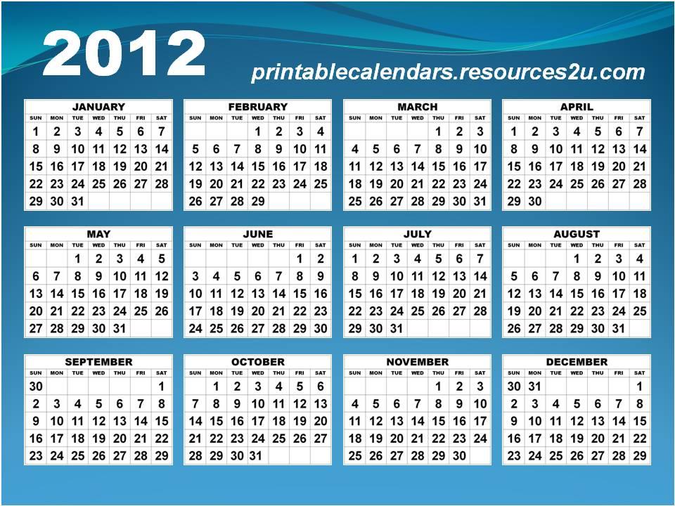 2012 Calendars Templates 2012 Calendars