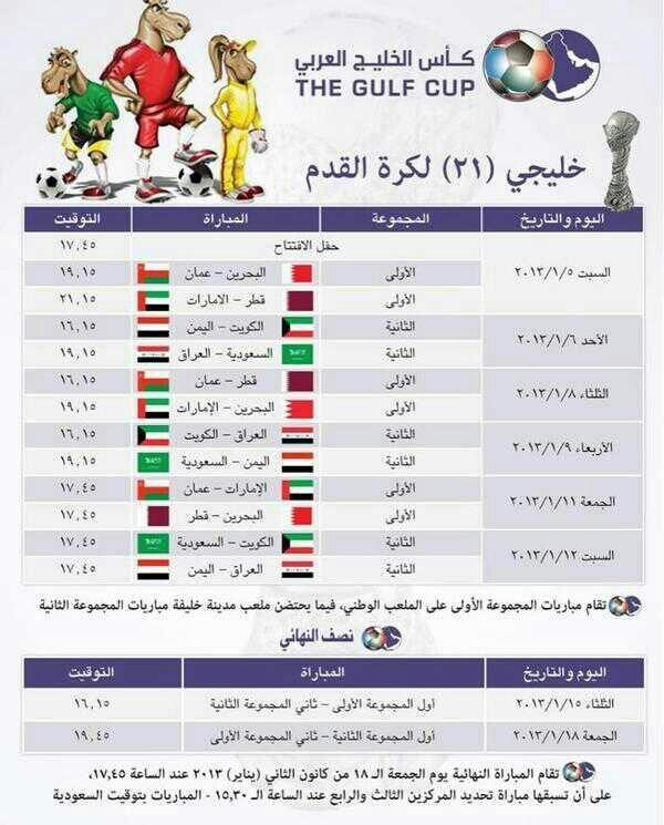 مواعيد مباريات الخليج 2013 البحرين